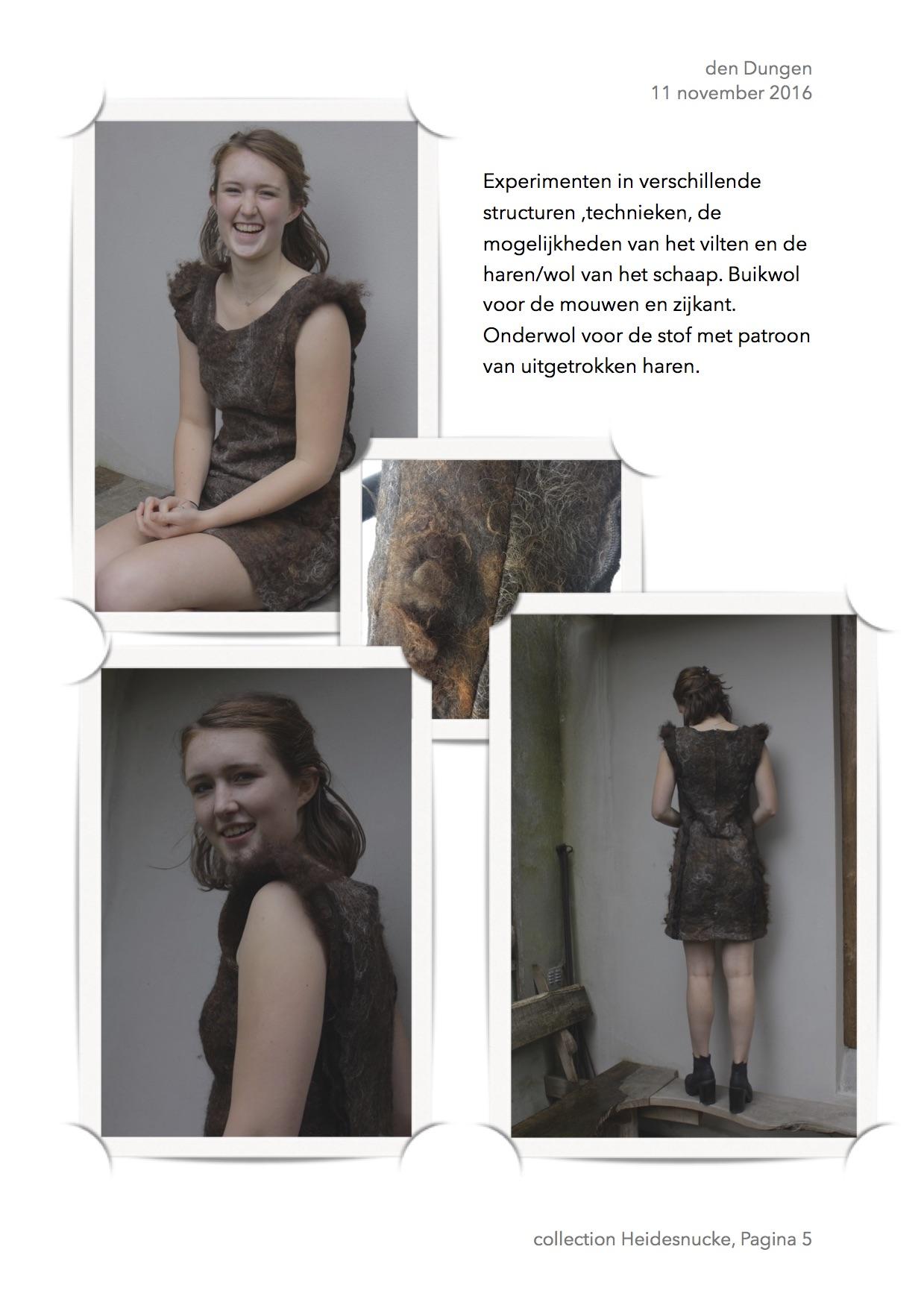 1e europeese kleding van 100% Heidesnucke een sociaal kunstwerk door Lidwina Charpentier