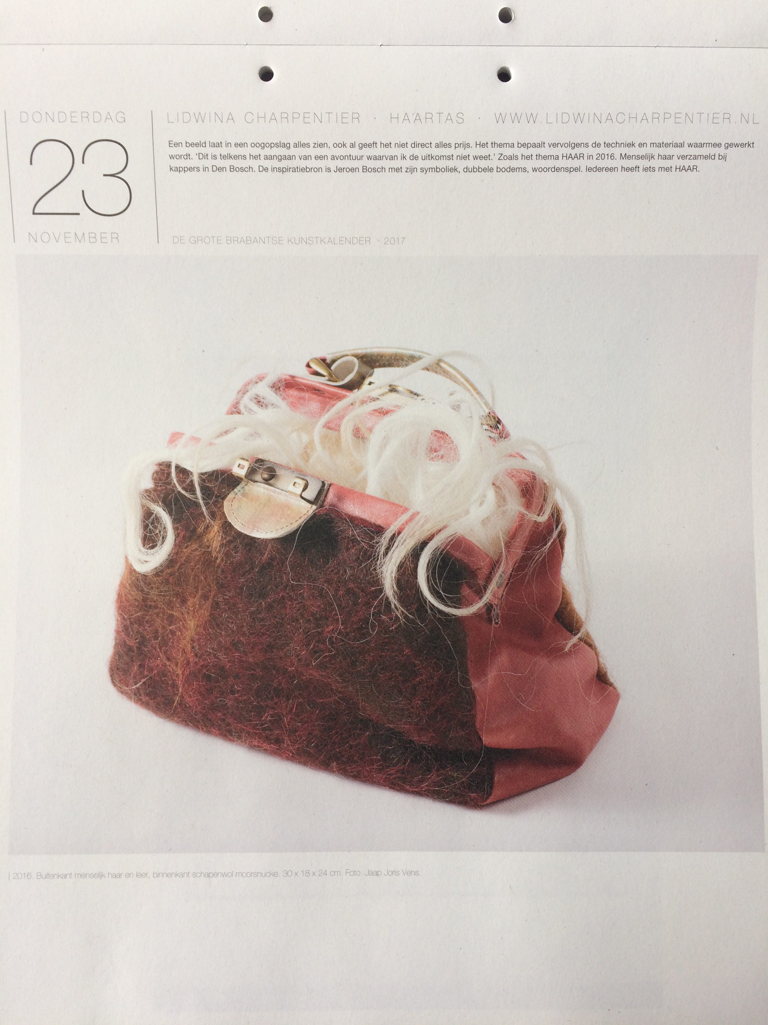 Haar'Tas van lidwina Charpentier in de Grote Brabantse Kunstkalender 2017