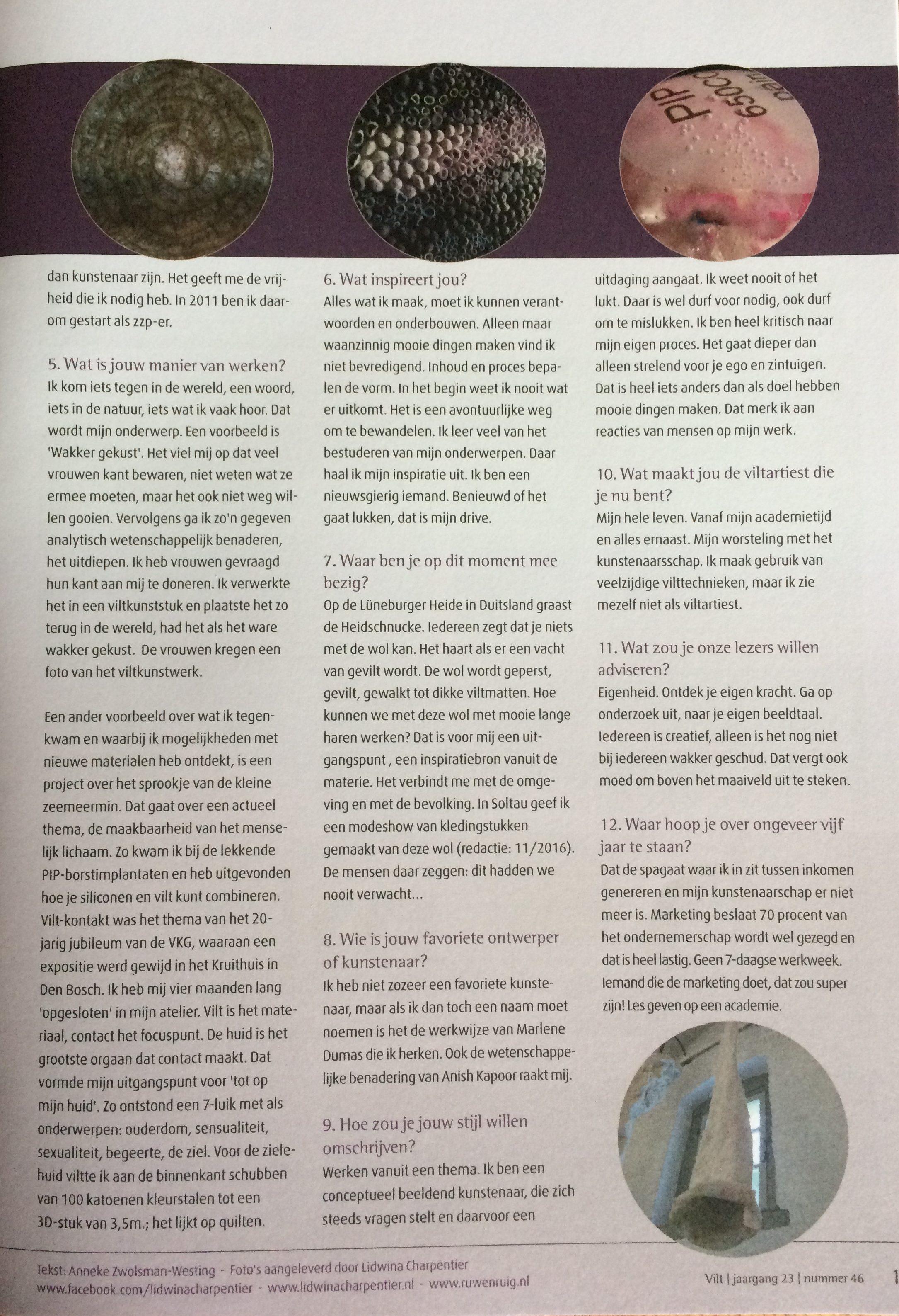 vilt 2016 de 12 vragen aan Lidwina Charpentier blz2