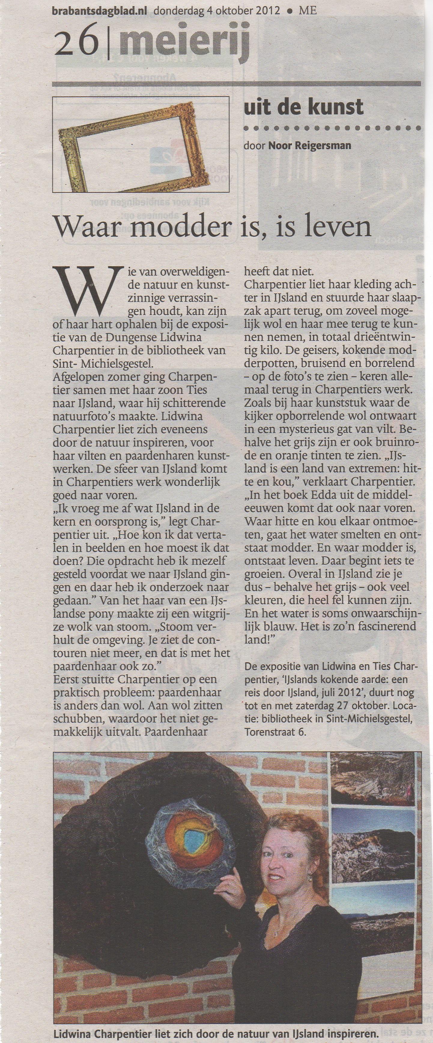 Brabants Dagblad 4 okt door Noor Reigersman lidwina Charpentier